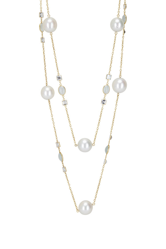 Cairo Yellow Gold South Sea Pearl & Aquamarine Necklace