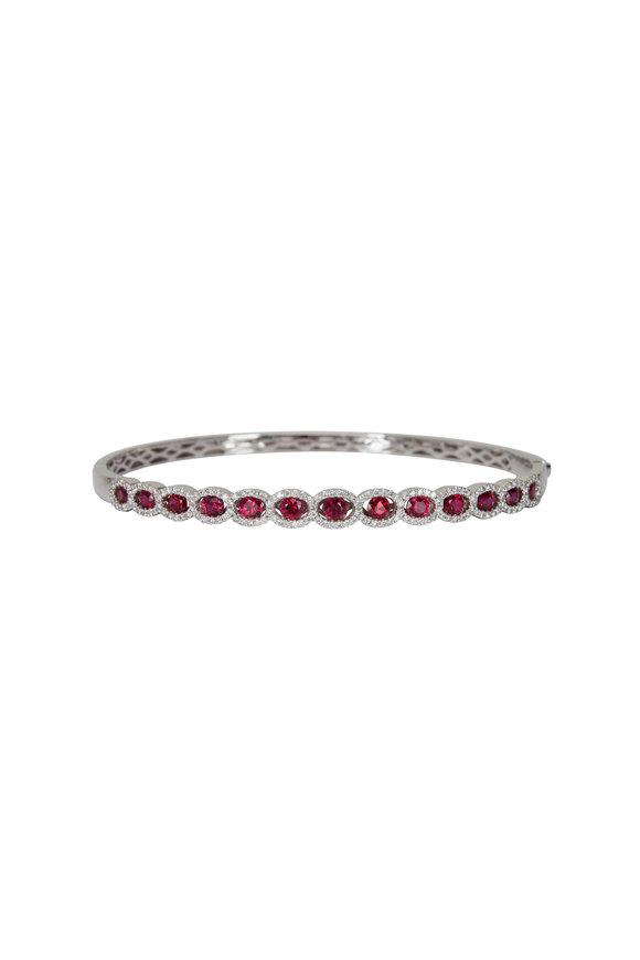 Cairo 18K White Gold Ruby & Diamond Bracelet