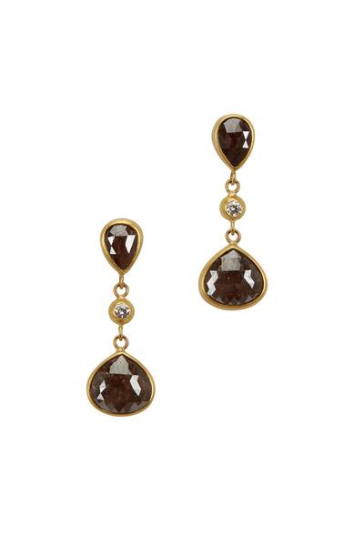 Caroline Ellen - 20K Gold Chocolate Diamond Drop Earrings
