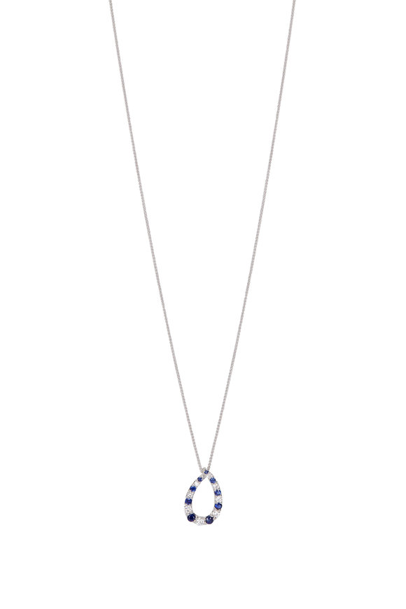 Cairo 18K White Good Sapphire & Diamond Pendant Necklace