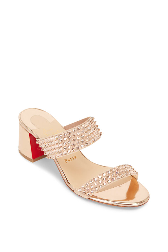 Christian Louboutin Krystal Fever Version Blush Studded Slide, 55mm