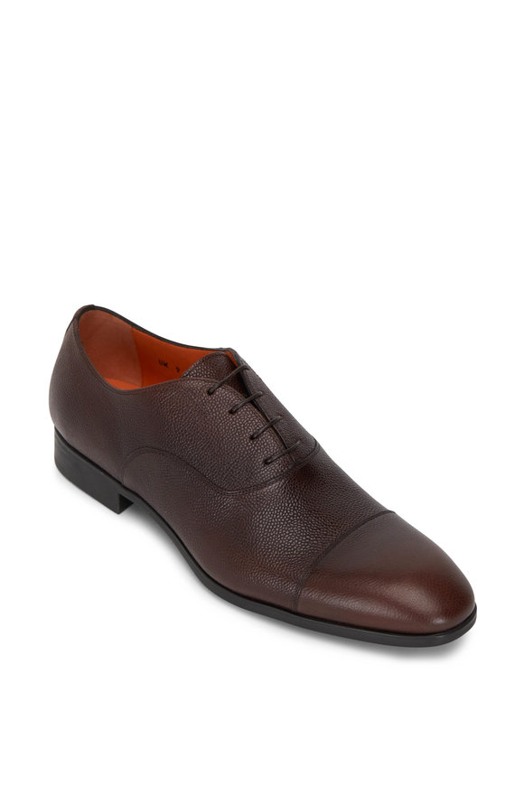Santoni Raul Brown Textured Leather Lace-Up Dress Shoe
