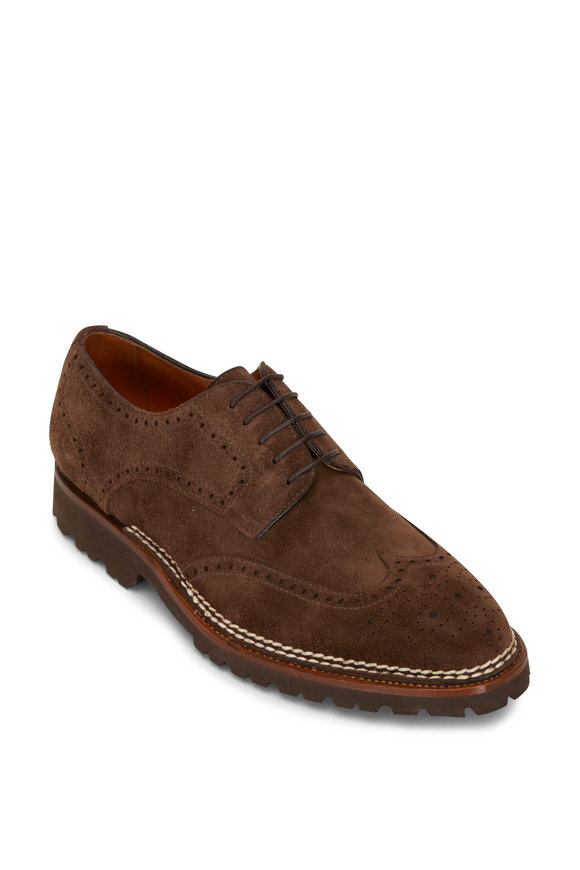 Bontoni Libertino Derby Orzo Medium Brown Suede Wingtip