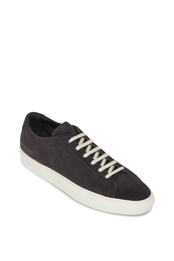 Common Projects Achilles Washed Black Suede Low Top Sneaker