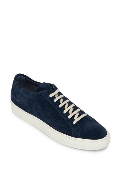 Common Projects - Achilles Washed Navy Suede Low Top Sneaker