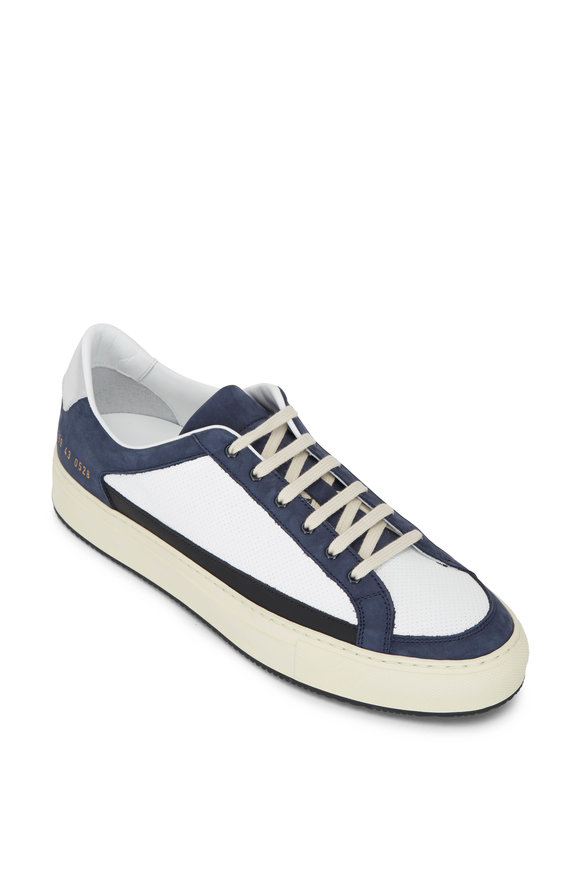 Common Projects Retro White & Navy Suede Low Top Sneaker