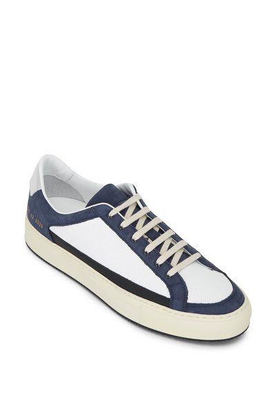 Common Projects - Retro White & Navy Suede Low Top Sneaker