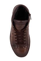 Santoni - Ronald Dark Brown Leather Side Zip Sneaker