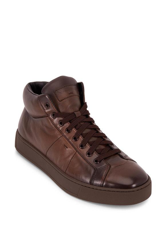 Santoni Ronald Dark Brown Leather Side Zip Sneaker
