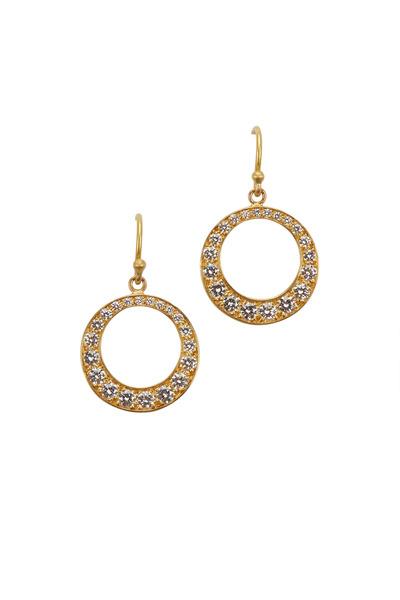 Caroline Ellen - 20K Yellow Gold Diamond Graduated Circle Earrings