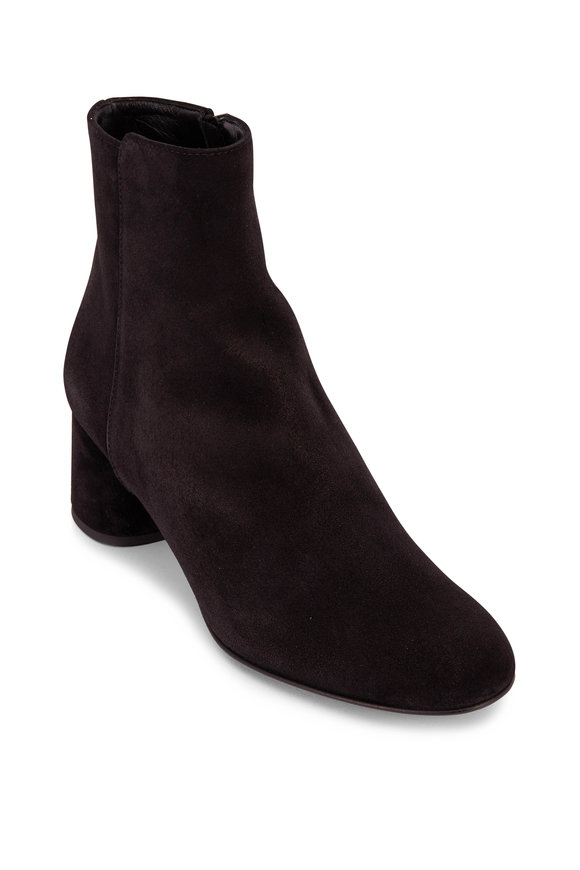 AGL Black Suede Textured Chunky Heel Bootie, 50mm