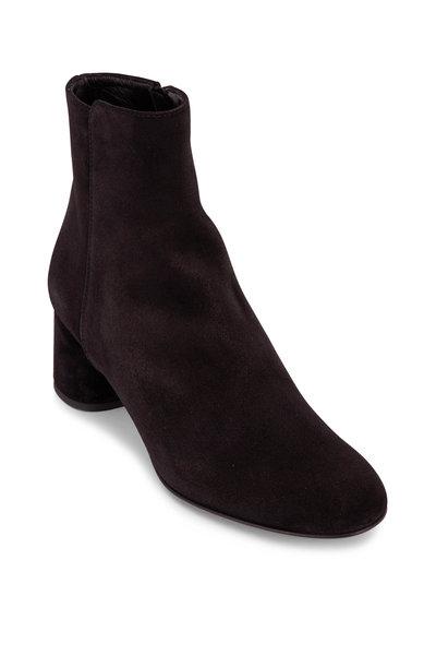 AGL - Black Suede Textured Chunky Heel Bootie, 50mm
