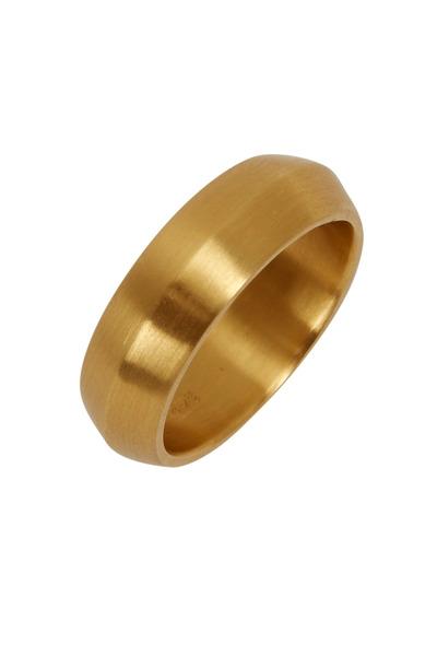 Caroline Ellen - Yellow Gold Wide Beveled Ring