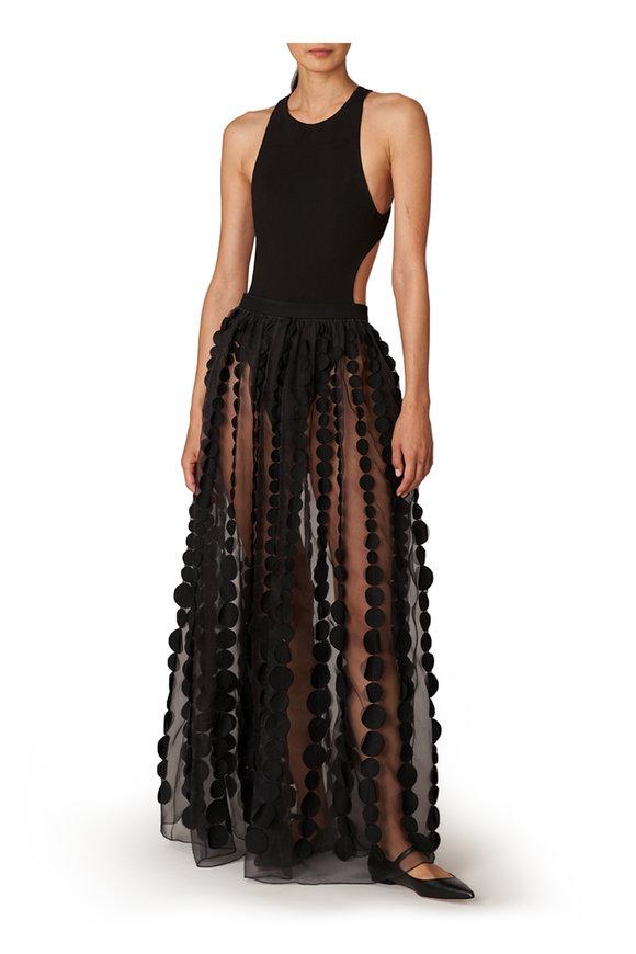 Carolina Herrera Black Knit Pointe Cut Out Bodysuit