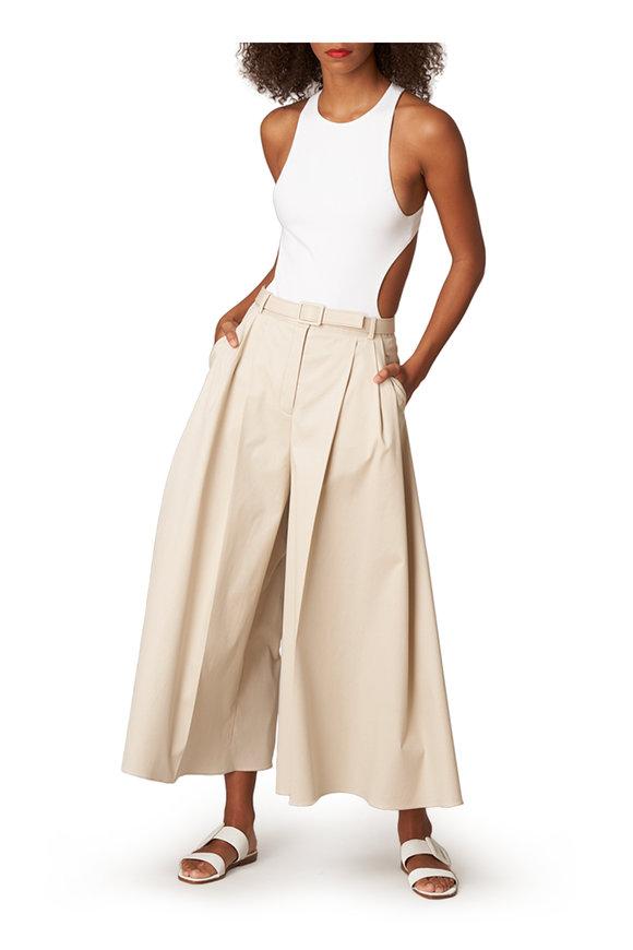Carolina Herrera White Knit Pointe Cut Out Bodysuit