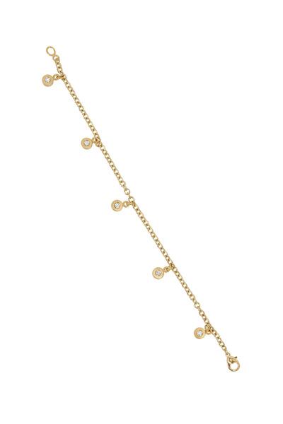 Caroline Ellen - Yellow Gold Tablet Diamond Charm Bracelet