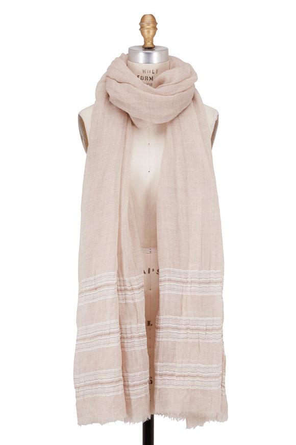 Brunello Cucinelli Brown & Beige Cashmere & Linen Striped Scarf