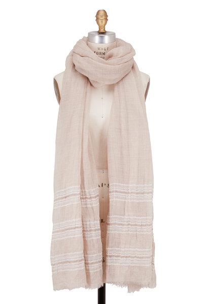 Brunello Cucinelli - Brown & Beige Cashmere & Linen Striped Scarf