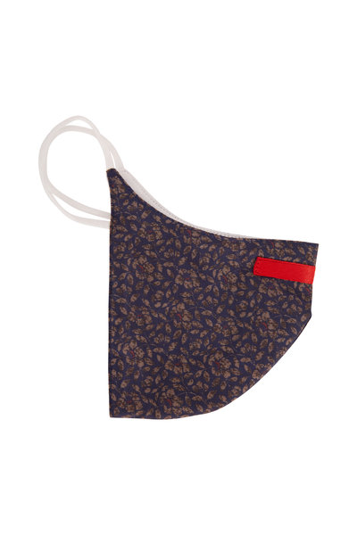 Isaia - Blue & Gray Floral Print Mask