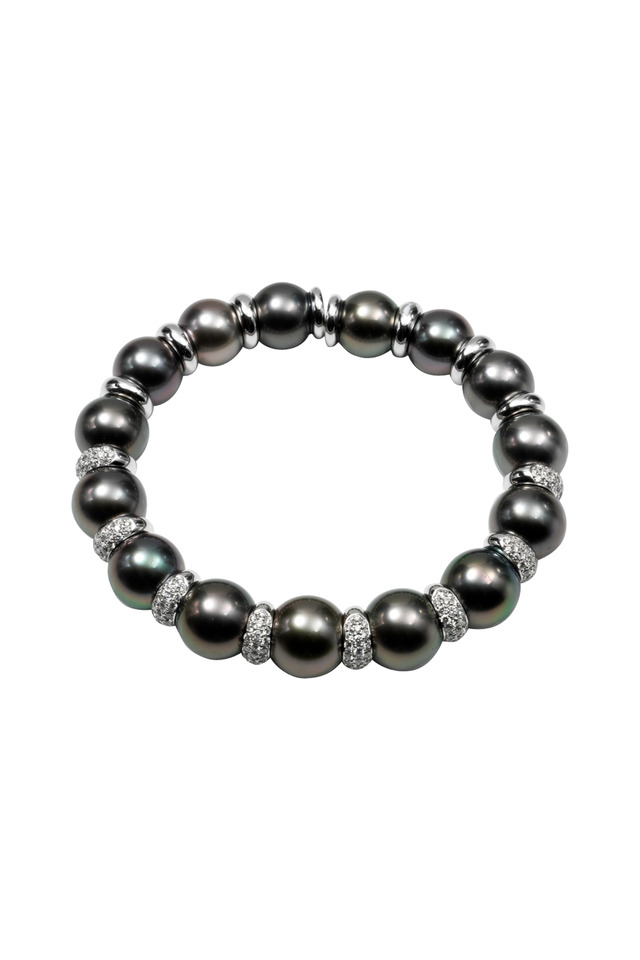 White Gold Tahitian Pearl Diamond Bracelet