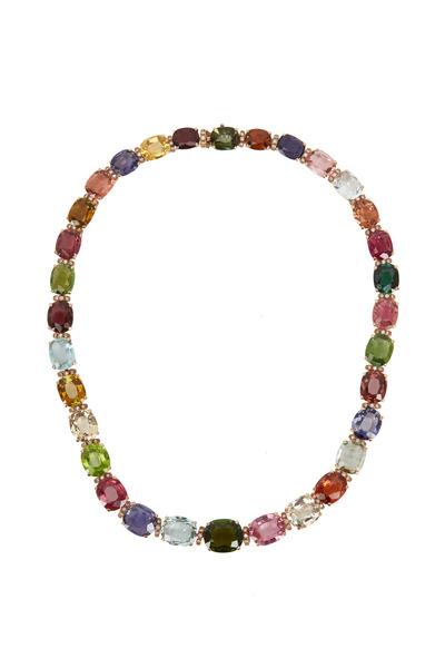 Eclat - Yellow Gold Precious Gemstone Diamond Necklace