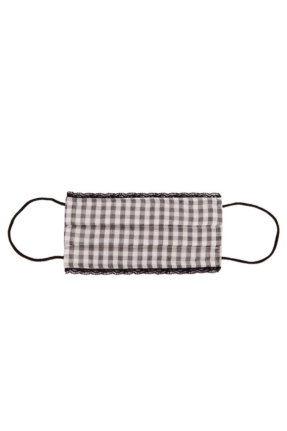 Faliero Sarti Gray & White Forever Gingham Lace Trim Face Mask