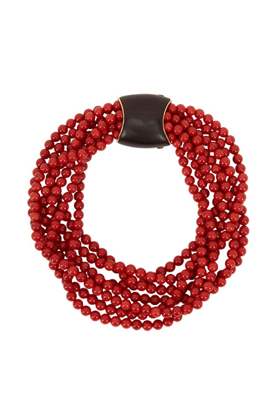 Eclat - Yellow Gold Mediterranean Coral Bead Necklace