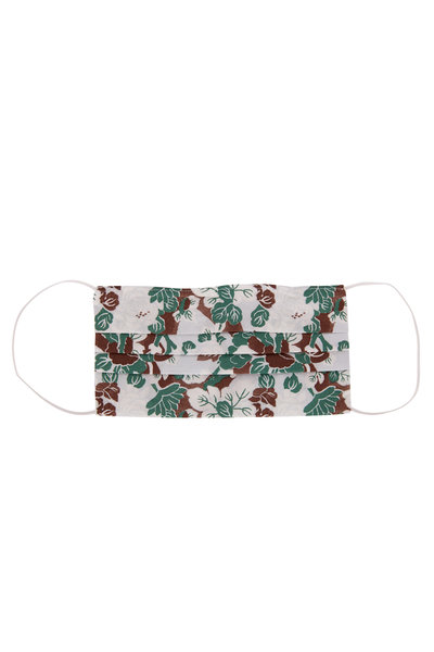 Made by Hand - Brown, White & Green Floral Mask