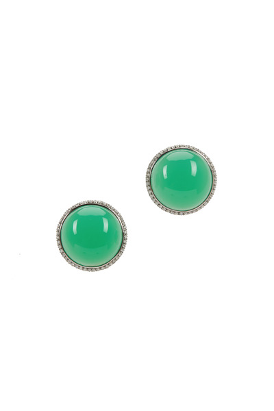 Eclat - White Gold Chrysoprase Diamond Button Earrings