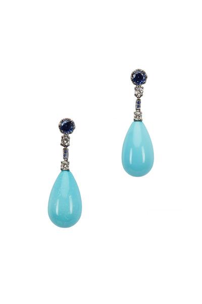 Eclat - Gold Turquoise & Sapphire Diamond Drop Earrings