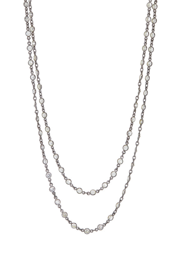 Loriann Sterling Silver Small Round Crystal Chain Necklace