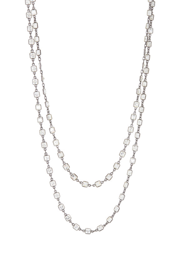 Loriann Sterling Silver Small Square Crystal Necklace