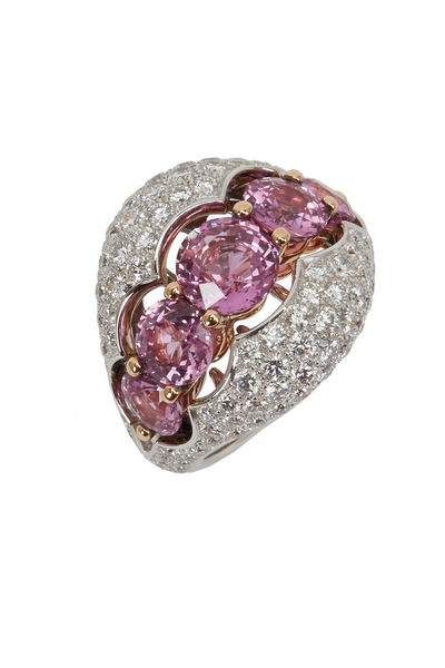 Eclat - Gold Pink Sapphire & White Diamond Cocktail Ring