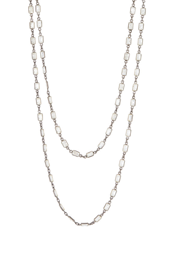 Loriann Sterling Silver Rectangular Crystal Chain Necklace