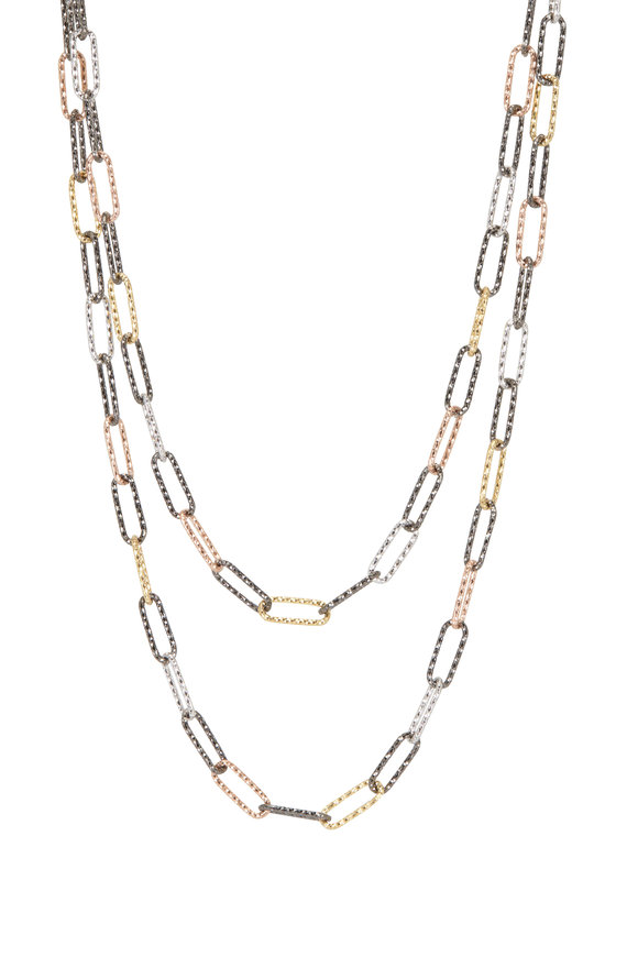 Loriann Rhodium, Rose Gold & Yellow Gold Paperclip Chain