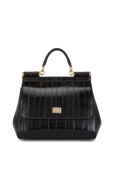Dolce & Gabbana - Sicily Black Coated Leather Medium Essential Bag