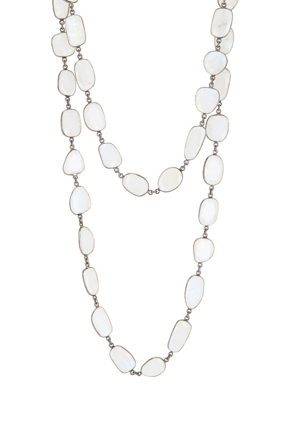 Loriann Sterling Silver Organic Moonstone Chain Necklace
