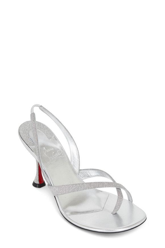 Christian Louboutin Taralita Silver Glitter Slingback Sandal, 85mm