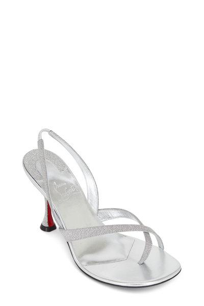 Christian Louboutin - Taralita Silver Glitter Slingback Sandal, 85mm