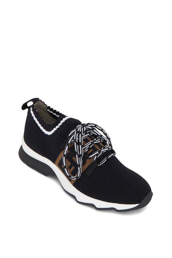 Fendi Black FF Sock Knit Running Sneaker