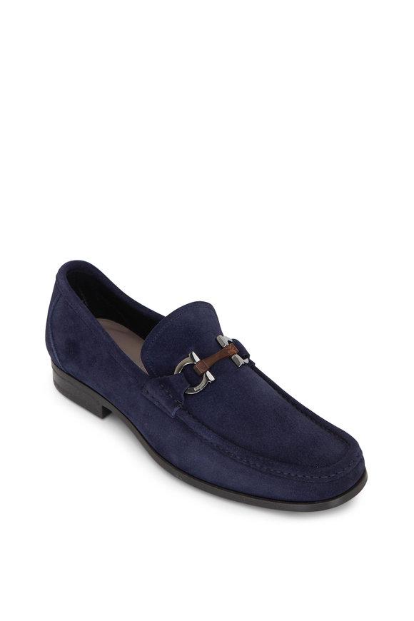 Salvatore Ferragamo Grandioso Blue Suede Loafer