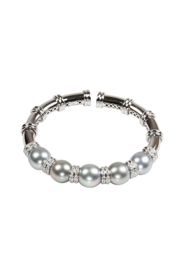 White Gold Tahitian Pearl Diamond Bracelet
