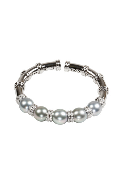 Assael - White Gold Tahitian Pearl Diamond Bracelet