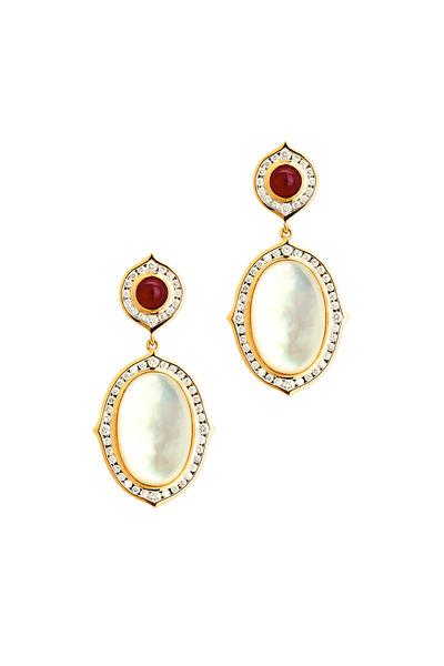 Syna - Kamala Gold Quartz MOP Ruby Diamond Earrings