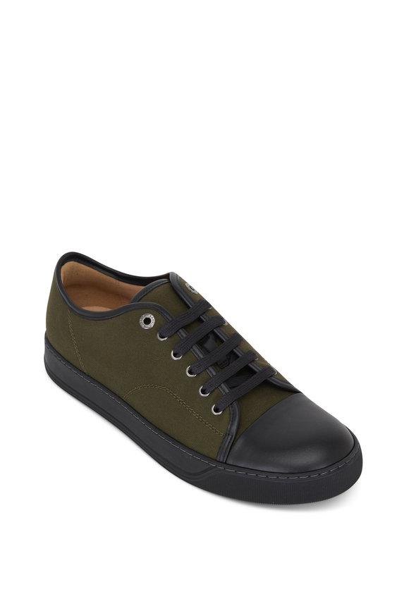 Lanvin Olive Canvas Cap Toe Low Top Sneaker
