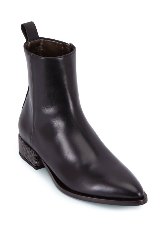 Brunello Cucinelli Black Leather Monili Heel Bootie, 25mm