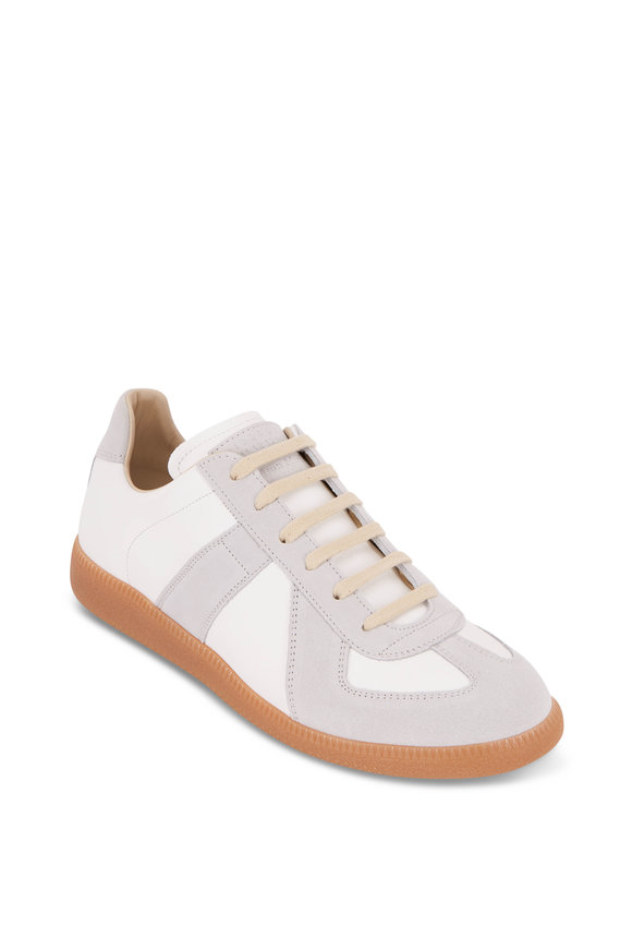 Maison Margiela Replica Off White Leather & Suede Lace-Up Sneaker