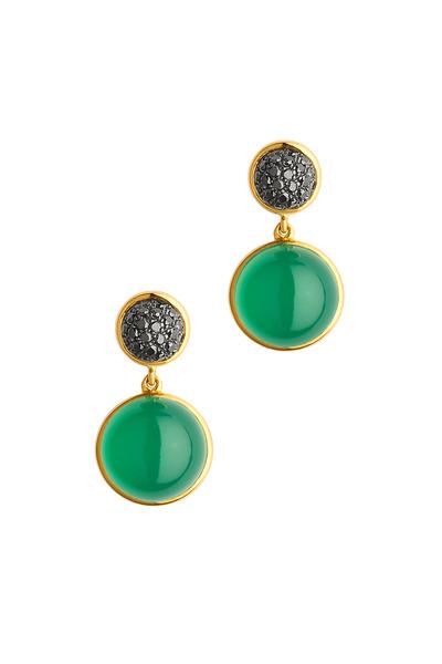 Syna - Baubles Gold Chalcedony & Black Diamond Earrings