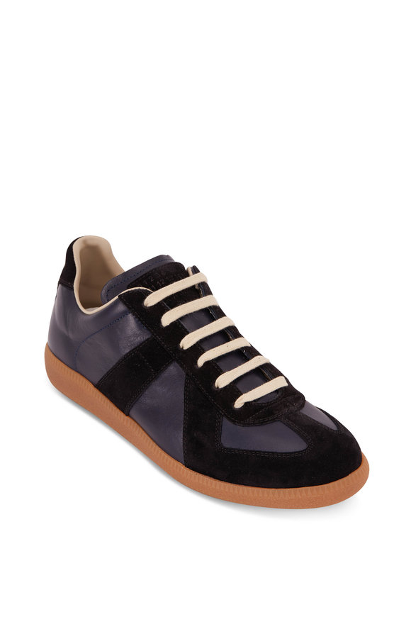 Maison Margiela Navy Blue & Black Leather & Suede Lace-Up Sneaker