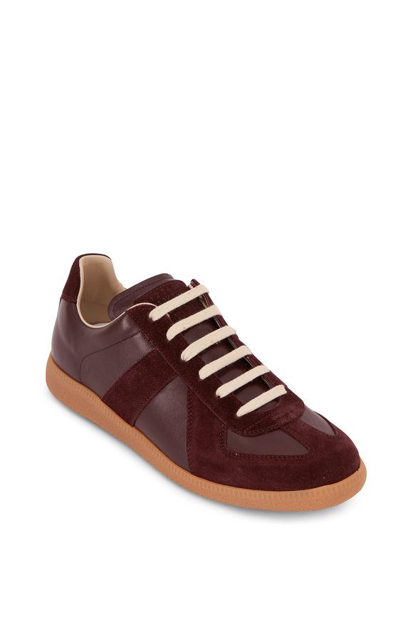 Maison Margiela Replica Wine Leather & Suede Lace-Up Sneaker